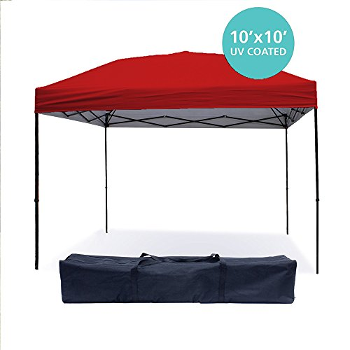 Punchau Pop Up Canopy Tent 10 x 10 Feet, Red - UV Coated, Waterproof Instant Outdoor Party Gazebo Tent (10 Garden Party Canopy)