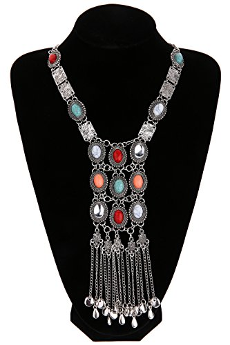 Miraculous Garden Womens Vintage Alloy Silver/Gold Long Ethnic Tribal Boho Beads Coin Fringe Necklace Bohemia Style (Antique Silver) (Antique Womens Beads)