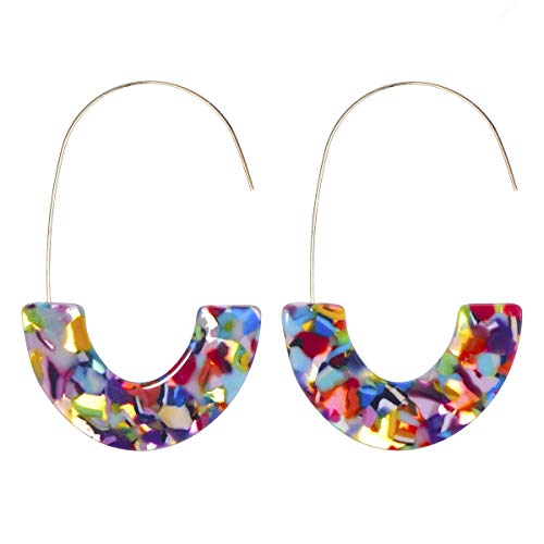 Tortoise Acrylic Half Round Hoop Drop Earrings KELMALL COLLECTION]()