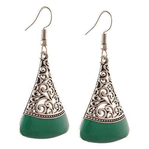 Zephyrr Fashion Oxidized Silver Lightweight Beaded Fish Hook Earrings for Girls -