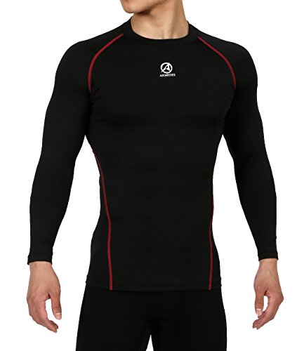 ARMEDES Men's Compression Unique Mock Activewear Fitted Long Sleeve T-Shirt BLACKRED,M