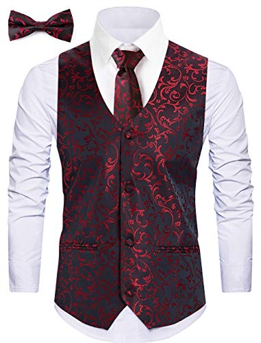 WANNEW Mens Vest Suit Vests Tuxedo Vest Vest for Men(XX-Large, Burgundy 2#)