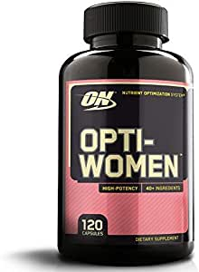 Optimum Nutrition Opti-Women, Vitamin C, Zinc and Vitamin D for Immune Support Womens Daily Multivitamin Supplement with Iron, Capsules, 120 Count