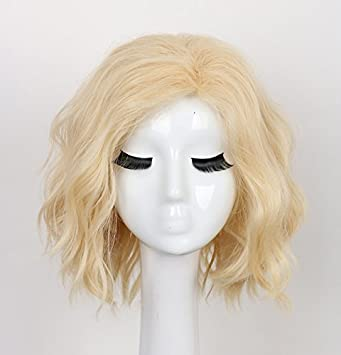 Amazon Com Yuehong Short Curly Blonde Wig Synthetic Anime Wig