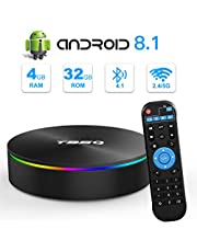 Android 8.1 TV Box, T95Q TV Box 4GB RAM 32GB ROM Amlogic S905X2 Quad-Core Cortex-A53 Bluetooth 4.1 Resolución 4K H.265 2.4GHz y 5GHz Dual Band WiFi HDMI 2.1 Smart Box