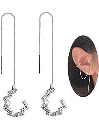 b544b29f1 925 Sterling Silver New Arrival Wave Cuff Earrings Wrap Tassel Earrings for  Women Threader Earrings Perfect