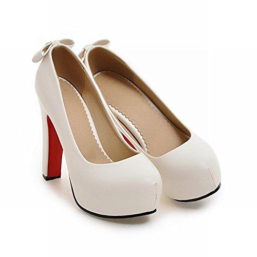 ... Mee Shoes Damen high heels Plateau runde Pumps Weiß ...
