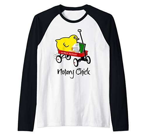 Mobile Notary Chick Riding in Red Wagon with Contract Seal Notarial Journal Raglan Baseball Tee