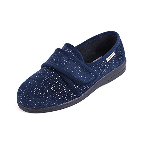 6e Extra Sophie Ladies Wide 4e Sparkle Fitting Slippers Navy qP7F7ST