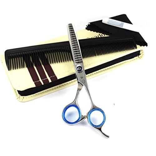 Tijeras de entesaque de peluquería profesional para animales de compañía Blue Avocado PS-1178 de 18 dientes y 5.5 pulgadas (14 cm), viene con un estuche de transporte y accesorios