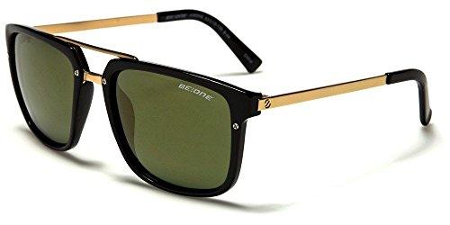 Black Green Polarized Shades Double Bridge Aviator Men'S - 1112 Sunglasses