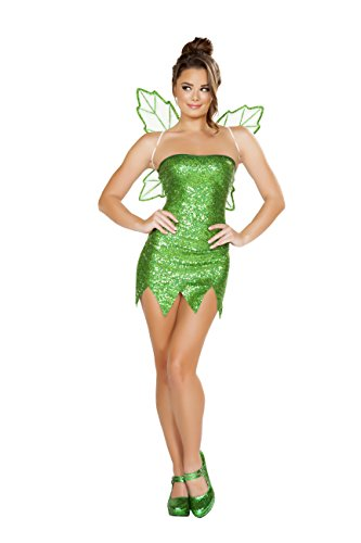 [Sexy Women's 2pc Mischievous Tinkerbell Pixie Fairy Costume (L)] (Tinkerbell Fairy Costumes For Women)