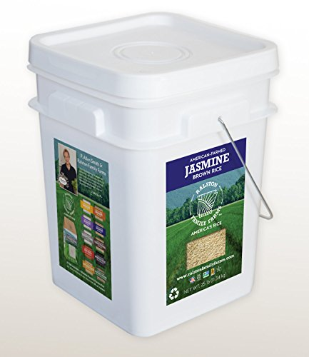 Artisanal Jasmine Brown Rice, 25 lb pail, Sustainably Grown in the U.S.A, Farm to Table Experience