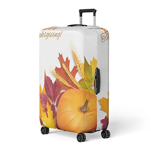 Pinbeam Luggage Cover Orange Happy Thanksgiving Day Red Border Leaves Fall Travel Suitcase Cover Protector Baggage Case Fits 18-22 inches ()