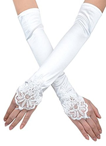 Pearl Beaded Fingerless Gloves (Love Millie Bridal Satin Fingerless Gloves Floral Embroidery Lace & Sequins (white))