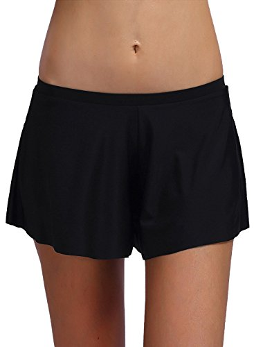 FanShou Women Retro Tankini Swim Shorts Bikini Bottom Trunk Board Shorts Swimwear Black M