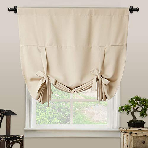 Tie Up Curtain Blackout Curtain Innovated Tie Up Shade Thermal Insulated Rod Pocket Curtain for Windows(42 Inch Wide by 63 Inch Long Panel-Beige)