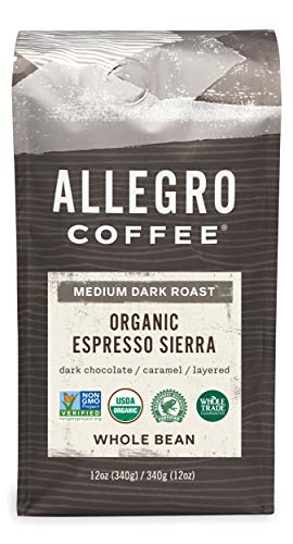 Allegro Coffee Organic Espresso Sierra Whole Bean Coffee, 12 oz