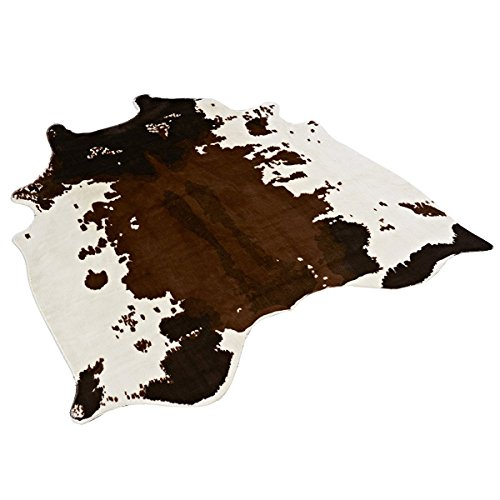 MustHome Soft Faux Cowhide Rug 4.5x4.4 Feet Cow Print Rug Perfect Throw Rug for Living Room/Tile/Lounge ()