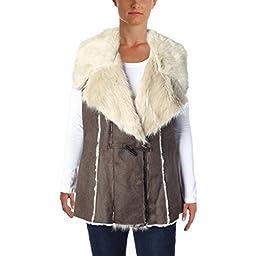 INC Womens Faux Suede Faux Fur Lined Casual Vest Brown S
