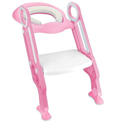 Buy Discount Luchild Potty Trainer Seat Adjustable Baby Potty Toilet Ladder Seat with Step Stool Ladder for Todderls Baby- Pink