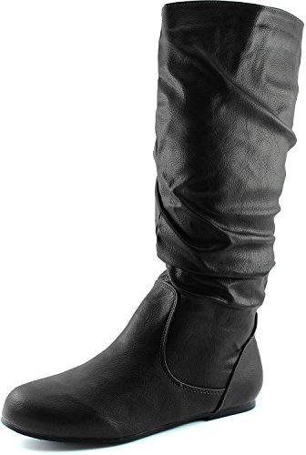 Women's Mid Calf Slouch Faux Suede Comfortable Slip On Round Toe Flat Heel Knee High Boots Fashion Shoes, Black PU, 8.5