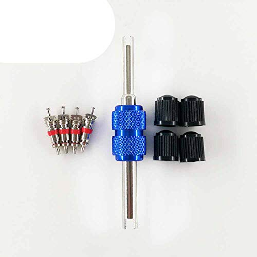 1 Set Tire Valve Service Kit 4 Valve Cores 4 Valve Caps 1 Two Way Metal Valve Stem Screwdriver Tire Repairing Tool for Car Bus