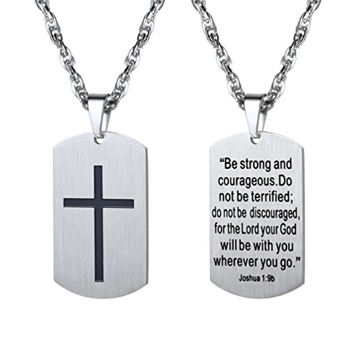 Cross Jewelry,Mens or Womens Necklaces Pendants,Military Dog Tag,Dogtag,Inspirational Necklace,Stainless Steel Chain,Christmas Gift ()