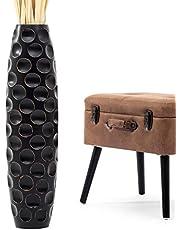 Leewadee Tall Big Floor Standing Vase for Home Decor, Mango Wood