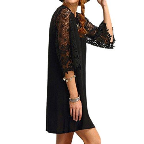 Courte Robe vider Courtes Guesspower Casual Mini Elgant Chic Robe Noir Femme Courte Manches Casual Dentelle wp7qZ