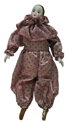 Porcelain Dolls 10 Inches, Pierrot, Ballerina teardrop clown doll with polka dot costume