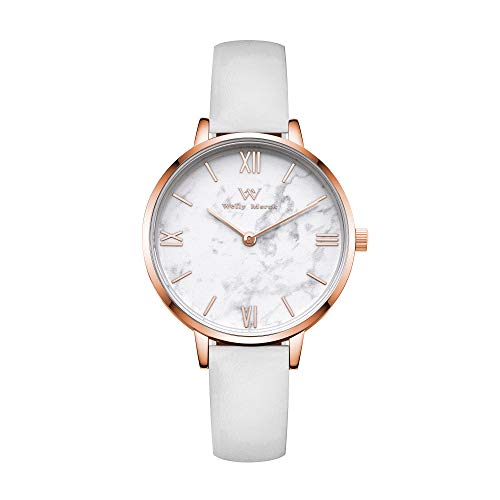 Welly Merck Womens Watch Stainless Steel Marble Dial Classy 32MM Minimalistic Swiss Quartz Movement Sapphire Crystal Wrist Watch with Interchangeable Strap,5ATM Water Resistant