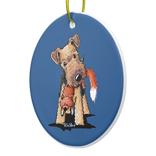 Ditooms Welsh Terrier with Toy Fox Ceramic Ornament Circle 3 Inches