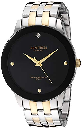 Armitron Men's 20/4952BKTT Diamond-Accented Two-Tone Bracelet Watch