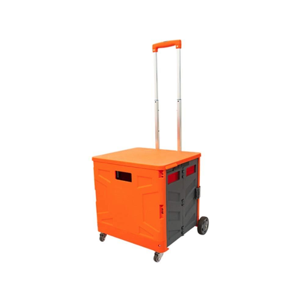LI MING SHOP 軽量の重いアルミニウム折りたたみ荷物カート50Kg耐荷重車のブーツ収納ボックス (色 : Orange gray42x36x101cm) B07Q8VJRZZ Orange gray42x36x101cm