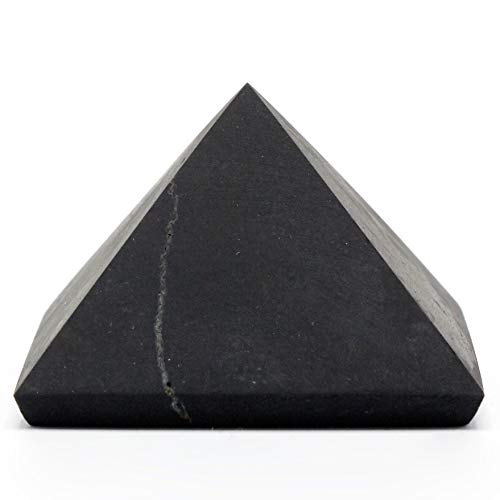 UnPolished Shungite Power Pyramid from Russia - 2 Inch - Stones Crystal Mineral Large ()