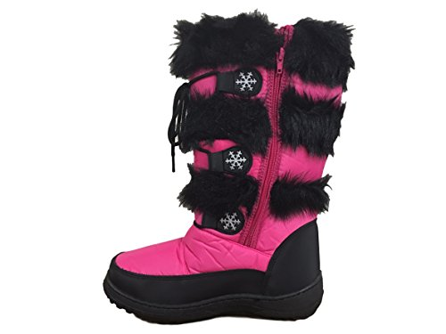 LADIES WINTER FUR SNOW BOOTS MOON MUCKER WATERPROOF WELLIES SHOES SIZE 3-8UK (6, BLACK)