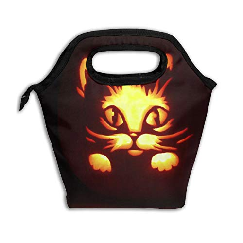 Halloween Kitten Pumpkin Lights Black Lunch Tote,Thick Reusable Insulated Thermal Lunch Bag Lunch Box Carry Case Handbags Tote With Zipper For Adults Kids Nurse Teacher Work Outdoor Travel -
