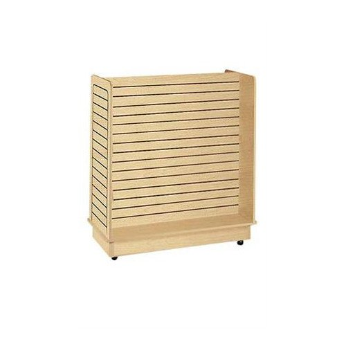 Retails Maple Finished Slatwall Gondola Unit with Casters - 24'' X 48'' X 48''