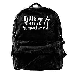 It's Whiskey O'clock Somewhere Vintage Unisex Canvas Shoulder Bag Travel Backpack School Bags