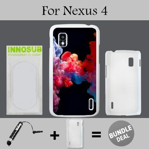 Colorful Vape Smoke Custom LG Nexus 4 Cases-White-Plastic,Bundle 2in1 Comes with Custom Case/Universal Stylus Pen by innosub