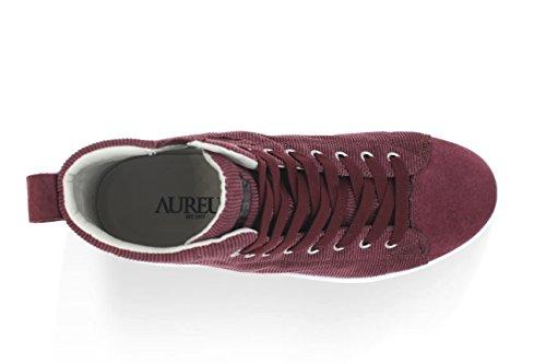 Aureus Womens Eden High-top In Velluto A Coste Moda Sneaker Bordeaux