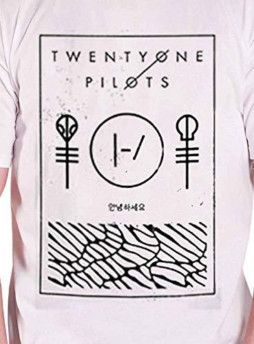 6a6295ea3 Twenty One Pilots 21 T Shirt Thin Line Box Band Logo Official Mens White