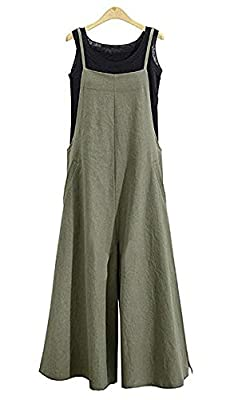 NuoReel Womens Suspenders Plus Size Jumpsuits Loose Wide Leg Romper Pants With Pockets