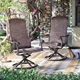 Modern Charter Dark Brown,All-Weather Resin Wicker, Aluminum Outdoor Patio Swivel Rocker Chair - Set of 2