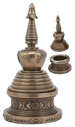 Ebros Tibetan Buddhism Buddha Nirvana Meditation Round Stupa Jewelry Box Figurine Auspicious Buddha Sculpture by Ebros Gift