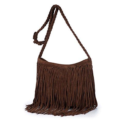 Queena Women Suede Fringe Tassel Shoulder Bag Vintage Hippie Messenger Bag Cross Body Hobo Purse Coffee