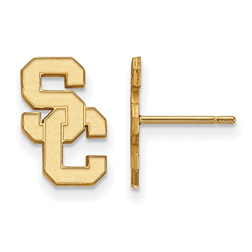 14k Yellow Gold LogoArt Official Licensed Collegiate University of Southern California (USC) Small Post Earring by LogoArt