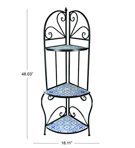 Deco 79 Furniture Oriental Mosaic Blue White Black Iron Outdoor Accent Table Planter 48