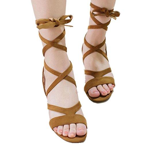 Sommer 40 Damen Leder Bandage Frauen Sandalen Gr lange Sandalen Damen Sandalen 35 Toe Gaotong LOBTY Flach Schuhe Stiefel stiefel Fischkopf Braun süße xRYqB7vw